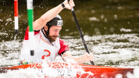 Ben Hayward competes in the men's C1 canoe slalom heats at the Minden Wild Water Preserve during the Pan Am Games in Minden, Ontario on July 18, 2015.