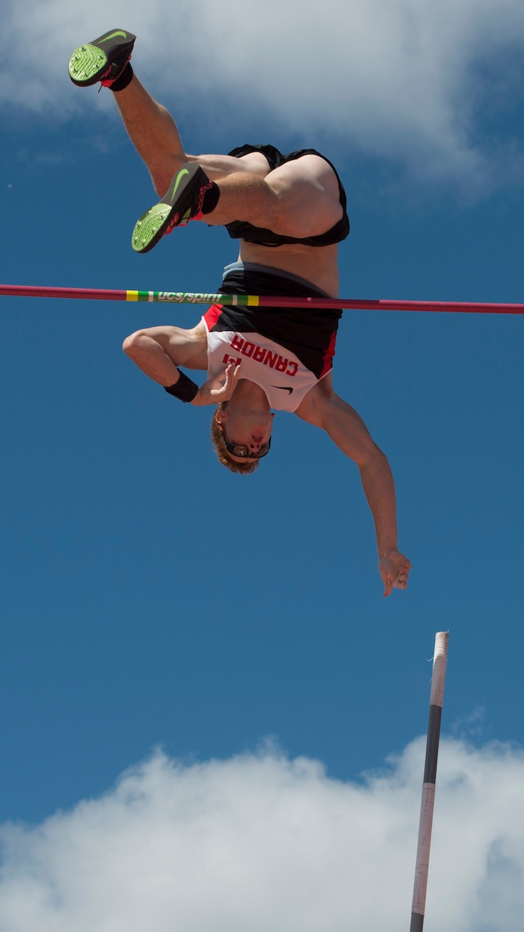 Shawnacy Barber completes in the men's pole vault at the Pan American Games in Toronto, July 21, 2015. Barber goes on to win gold.