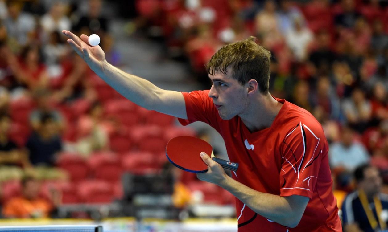 Marko Medjugorac keeps a close eye on the ball as he serves.