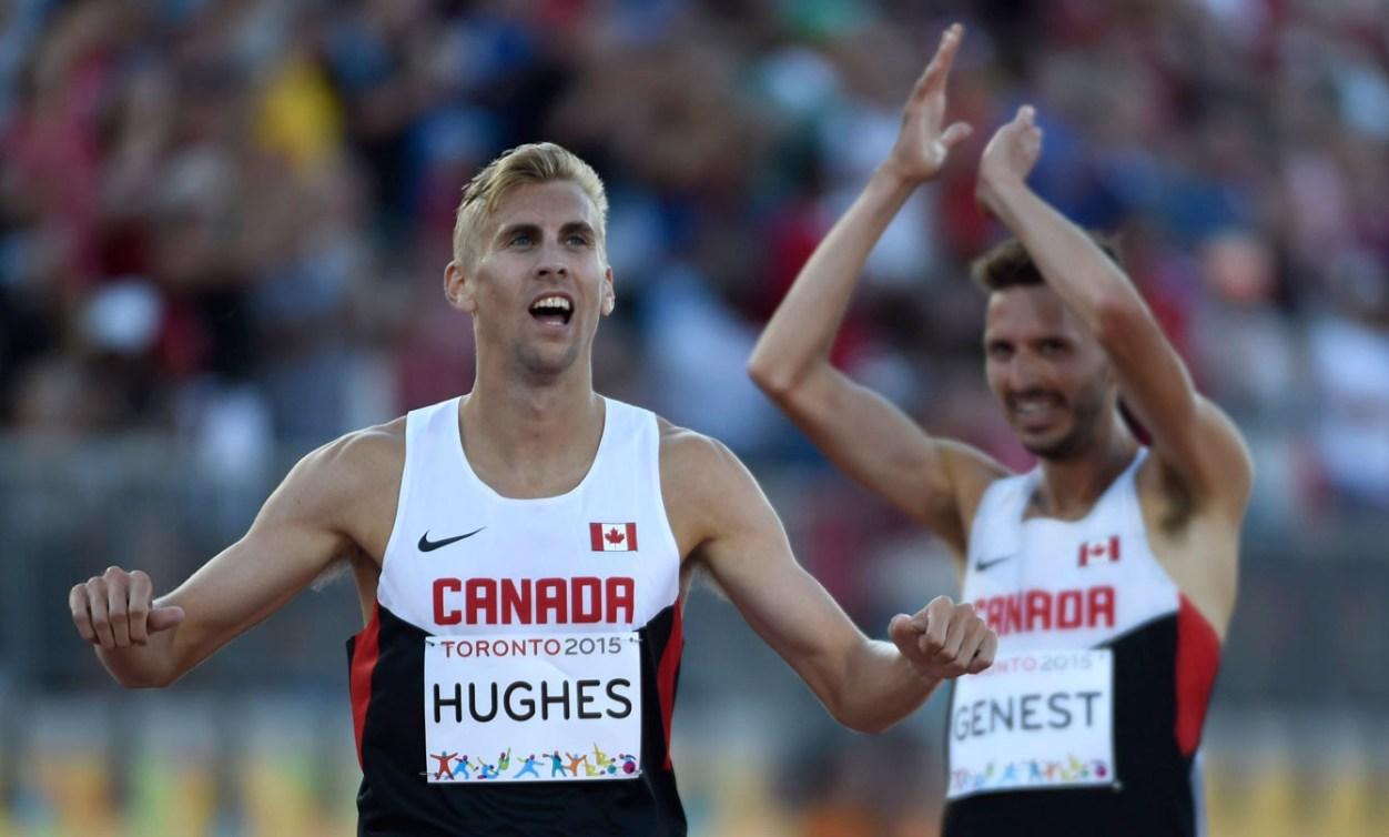 Matt Hughes won gold while teammate Alex Genest took silver in the men's 3000m steeplechase.
