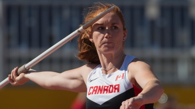 Melissa Fraser competes in the women's javelin