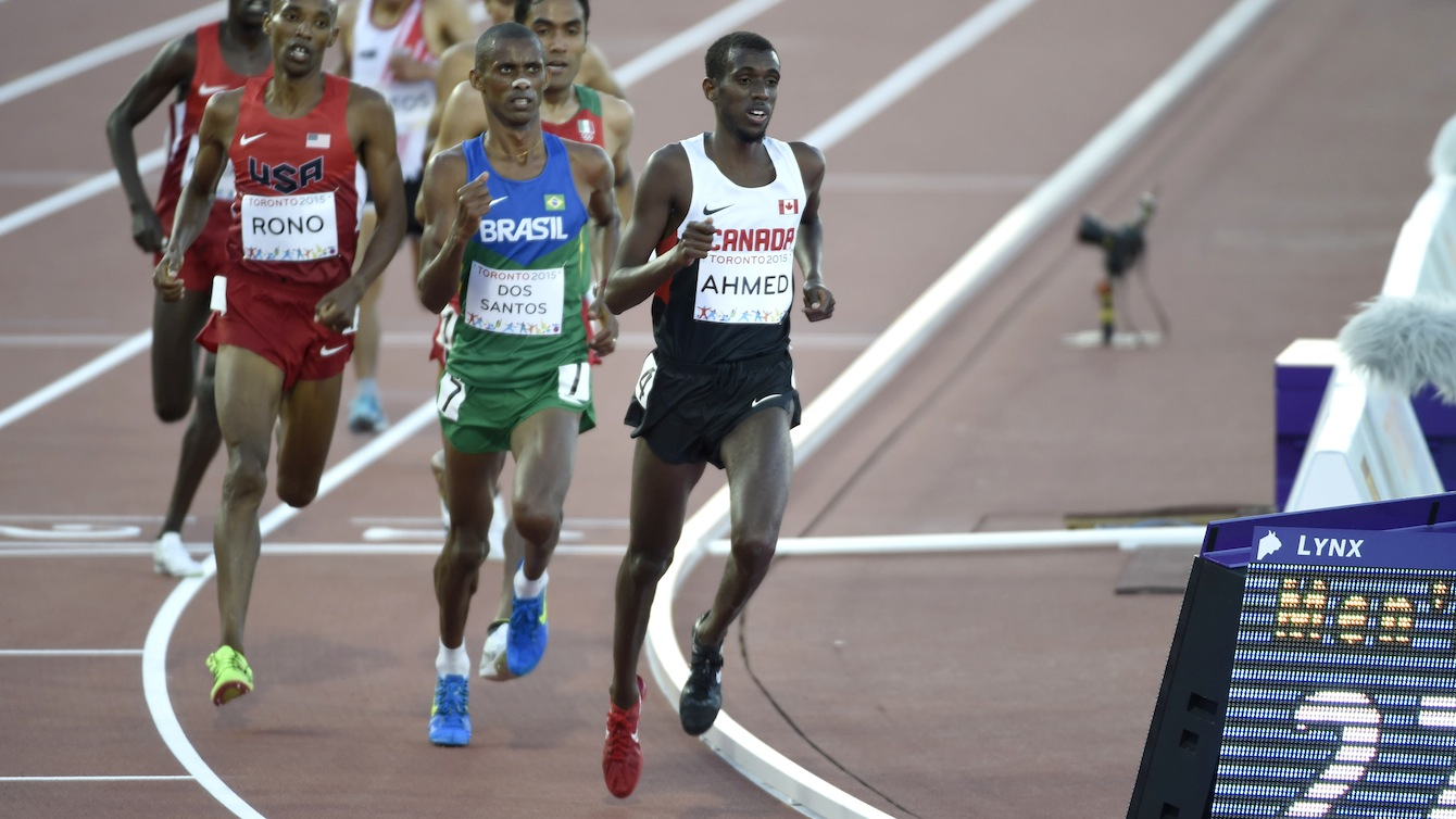 Mohammed Ahmed competes in the men's 10,000m race