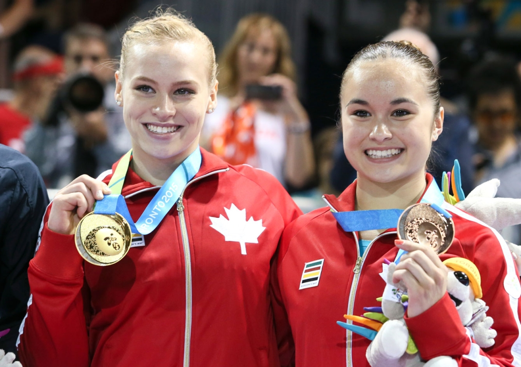 Ellie Black and Victoria-Kayen Woo took gold and bronze, respectively in the women's beam. (Photo: Mike Ridewood)