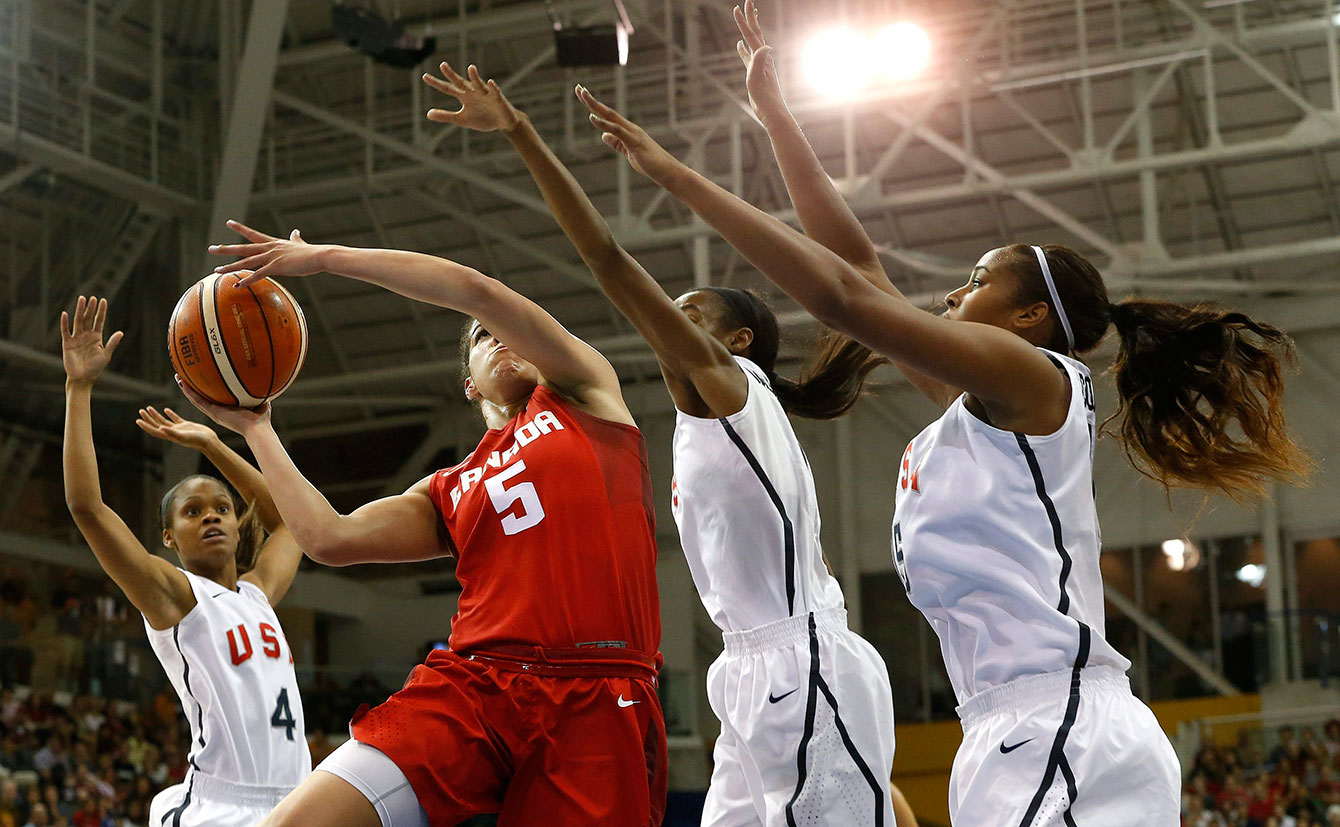 Kia Nurse goes to the hoop during the women's basketball gold medal game at TO2015. Canada won.