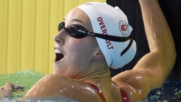 Emily Overholt broke the Pan Am record in 400m freestyle.