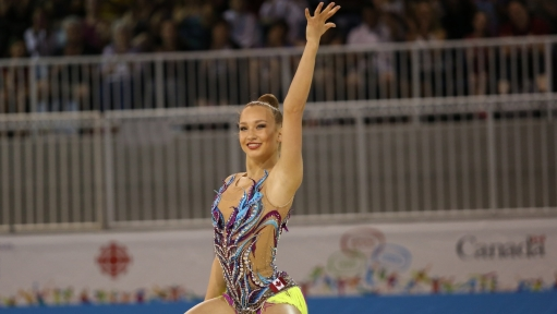Patricia Bezzoubenko competes in the rhythmic gymnastics clubs competition