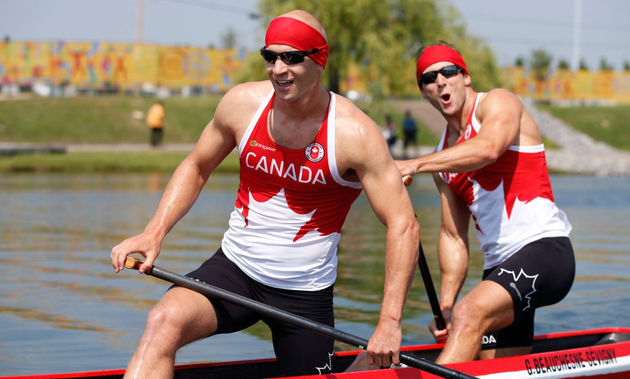 Gabriel Beauchesne-Sévigny and Benjamin Russell celebrate their gold in the C-2 1000m. (Photo: Michael Hall)