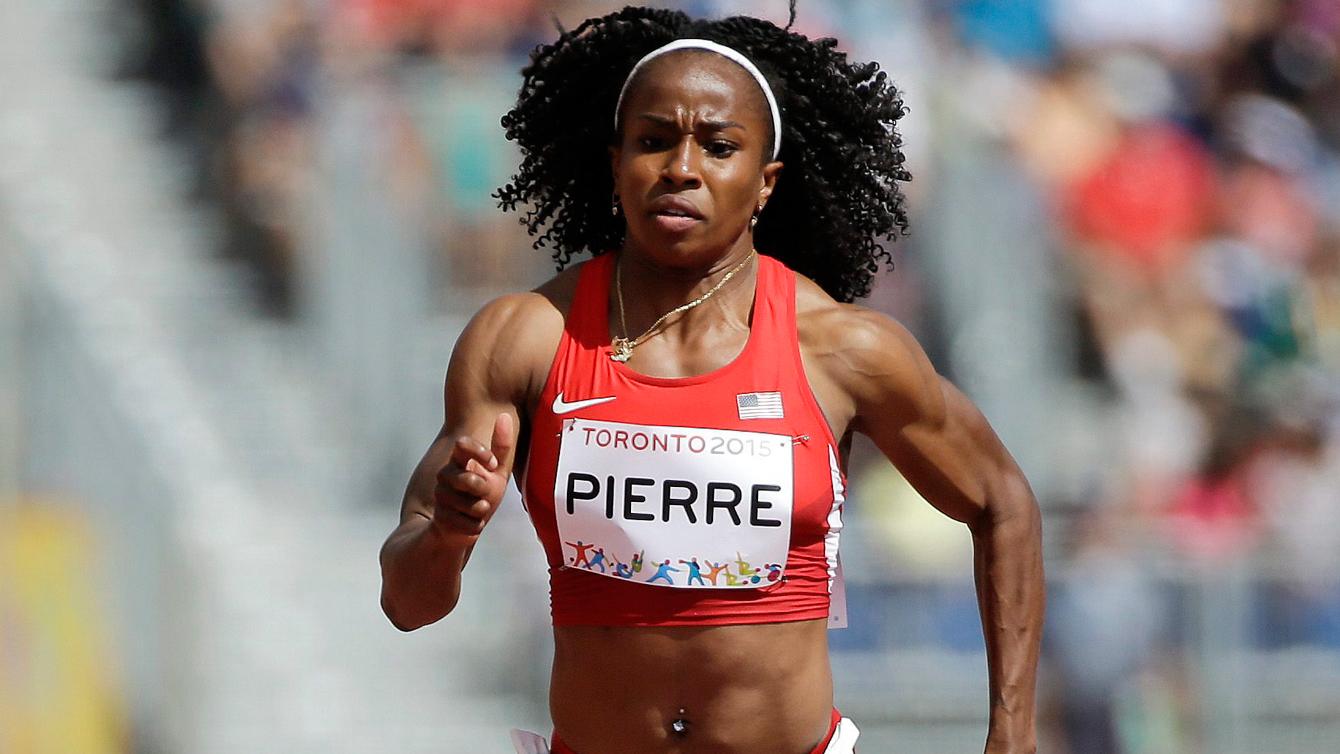 Barbara Pierre during Pan Am Games 100m heats in Toronto on July 21, 2015.