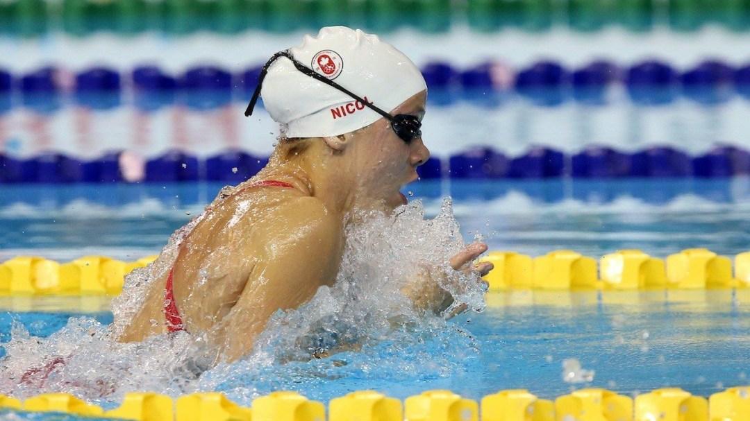 Rachel Nicol competes in women's 100m breaststroke.