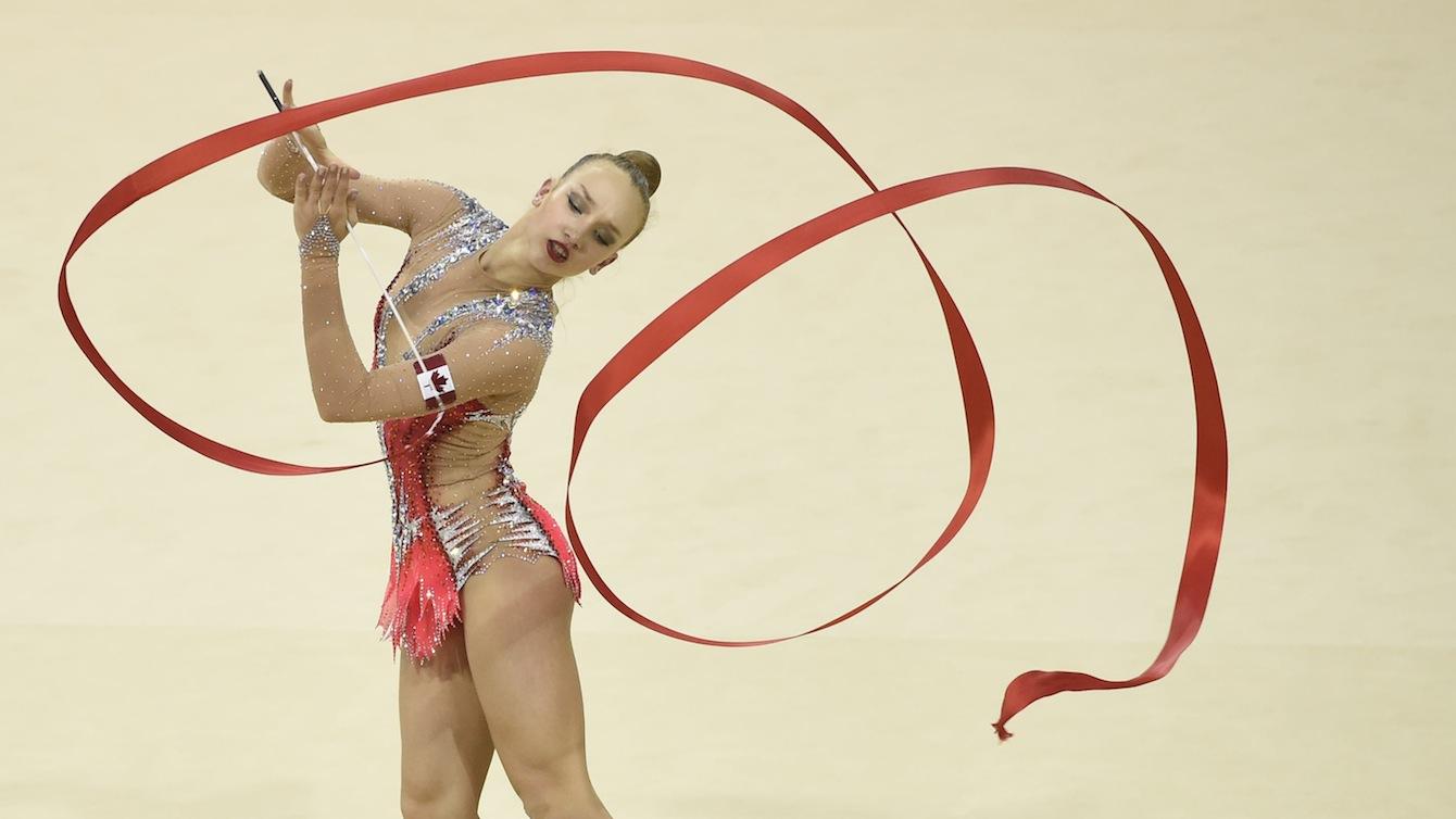 Patricia Bezzoubenko competes with ribbon at Toronto 2015