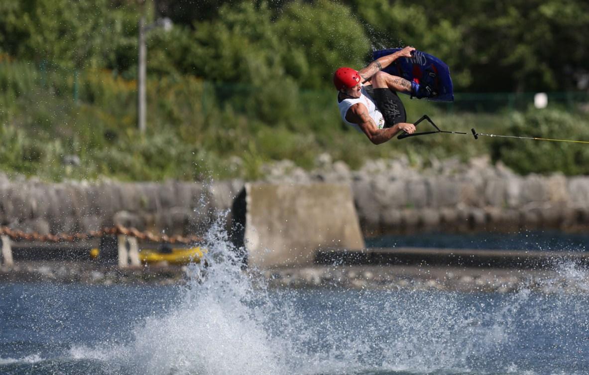 """Russell """"Rusty"""" Malinoski won men's wakeboarding gold at Toronto 2015 on July 22nd."""