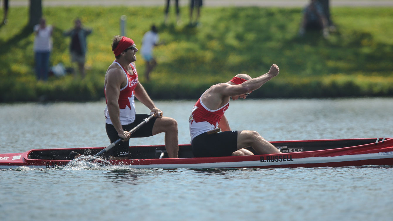 Benjamin Russell and Gabriel Beauchesne-Sevigny celebrate winning Pan Am Games gold in C-2 1000m on July 13, 2015.