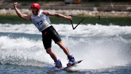 Rusty Malinoski competes in the WakeBoard Semi-Final at the Pan Am Games