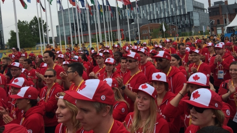 Team Canada at TO2015 athletes' village ceremony on July 8, 2015. Athletes out in force with the Hudson's Bay Team Canada ball caps.