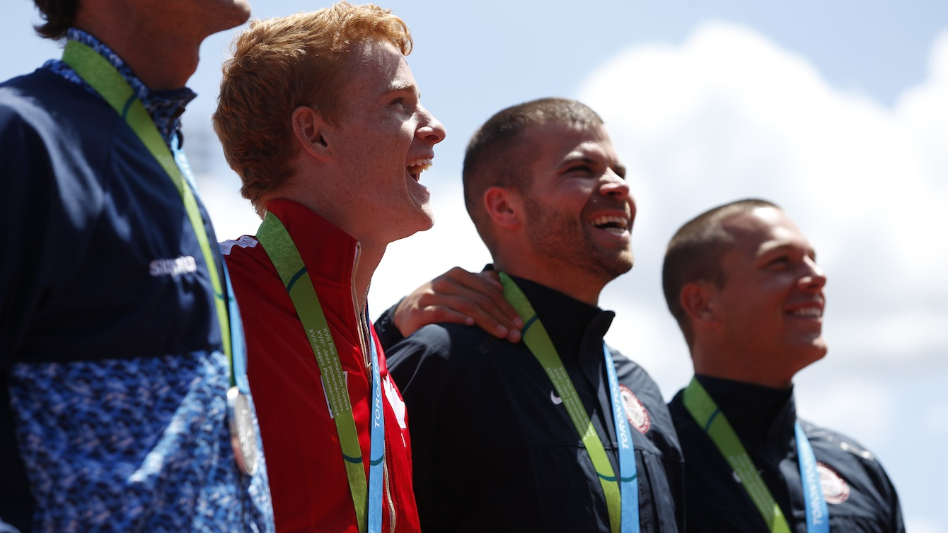 Shawnacy Barber celebrates gold in the men's pole vault at the Pan American Games in Toronto, July 21, 2015.