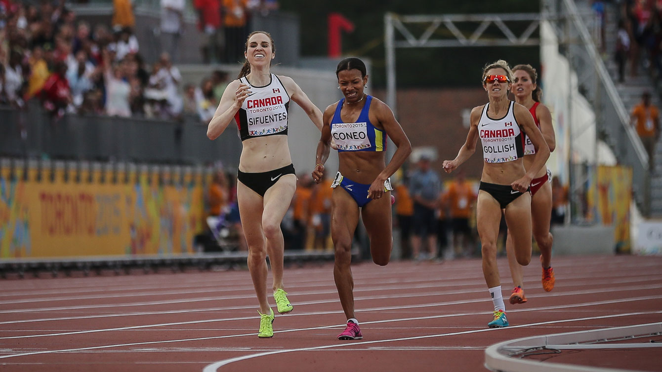 Nicole Sifuentes and Sasha Gollish finish second and third for Canada at the Toronto 2015 Pan Am Games in the women's 1500m.