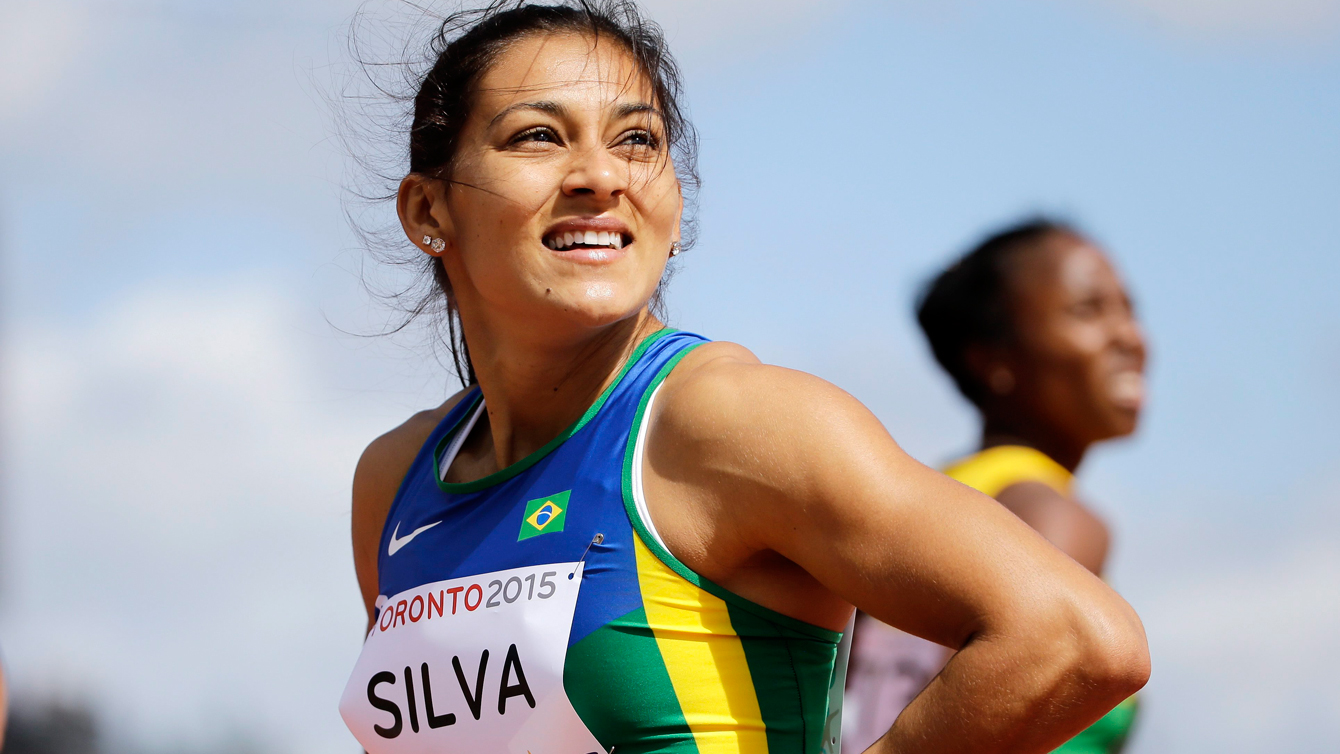 Ana Claudia Silva of Brazil at the Pan Am Games 100m heats in Toronto on July 21, 2015.
