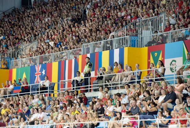 A packed building for the duet free routine final at the Pan Am Aquatics Centre and Field House, Saturday, July 11th, 2015.