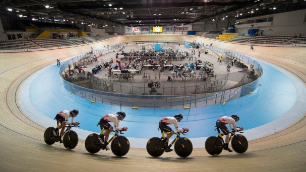 Canada's women's team pursuit practice at the Pan American Games in Toronto.