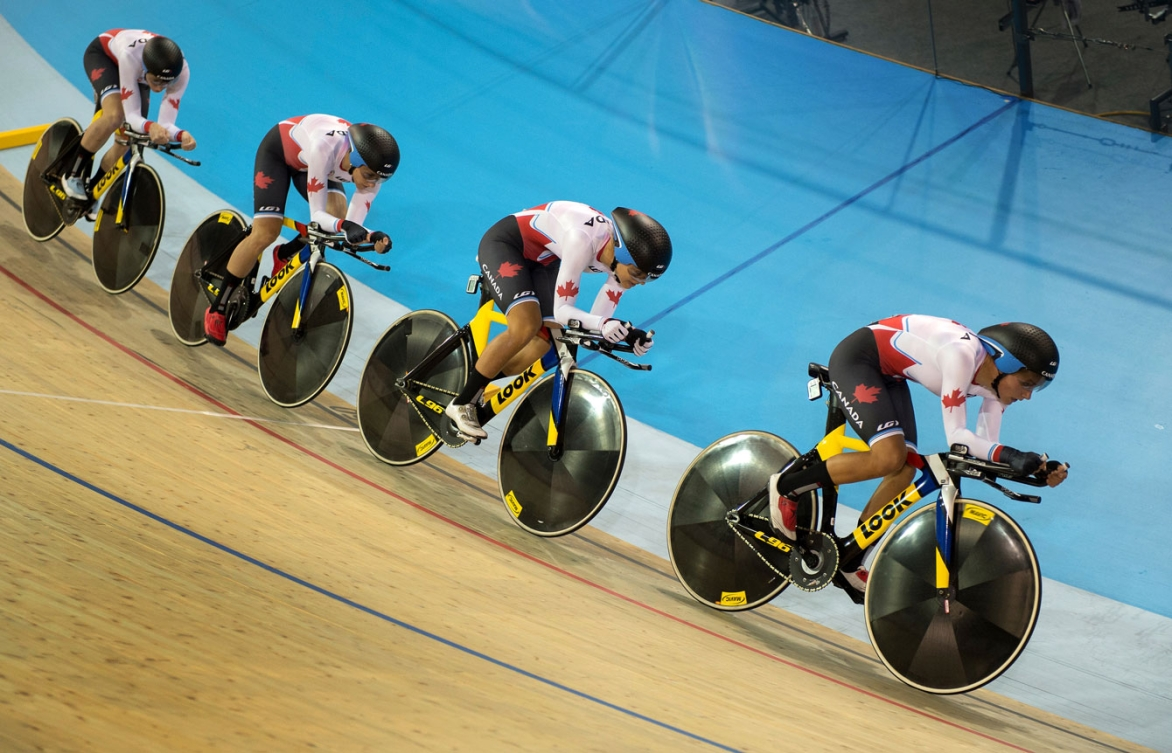 Canada took gold over the USA in the Toronto 2015 women's team pursuit final. (Photo: Jason Ransom)