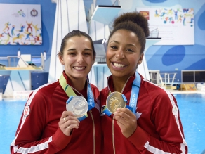 Individually, Pam Ware (left) silver medallist and Jennifer Abel gold medallist in women's 3m springboard at Toronto 2015 Pan American Games.