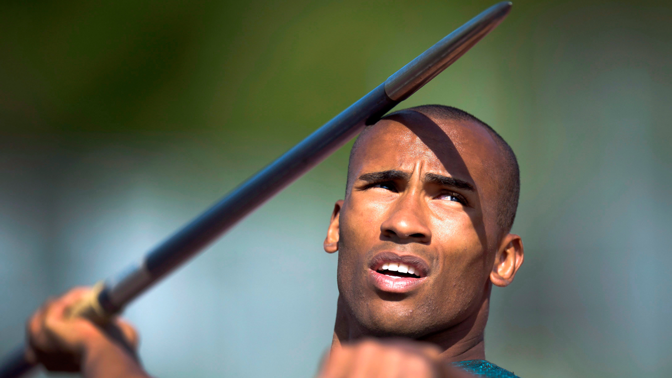 Decathlete, Damian Warner, practicing for the TO2015 Games