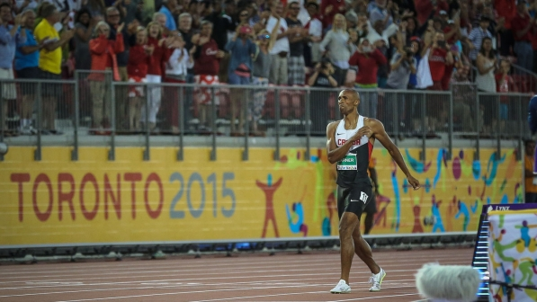 Warner after finishing the Pan Am Games decathlon 1500m in 4:24.73 and breaking the Canadian points record in the 10-event discipline. Warner needed to run 4:29.5 or faster on July 23, 2015 in Toronto.