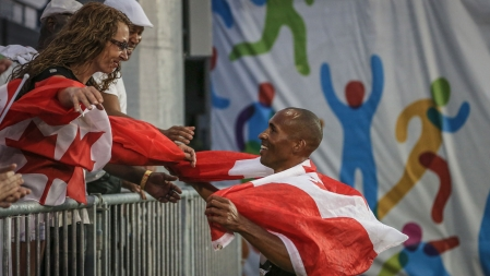 Damian Warner with friends and family after winning the decathlon at the Pan Am Games in Toronto on July 23, 2015.