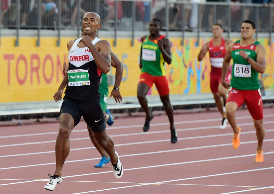 Damian Warner outruns the Pan Am Games field in 47.66 seconds in the 400m event of the decathlon on July 22, 2015.