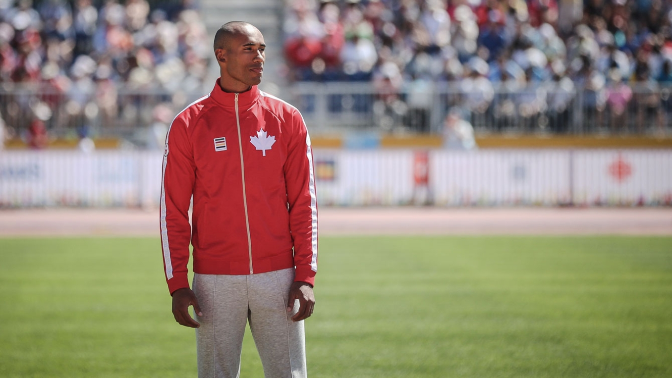 Damian Warner sports what is quickly becoming an iconic podium jacket from Hudson's Bay at 2015 Pan Am Games.