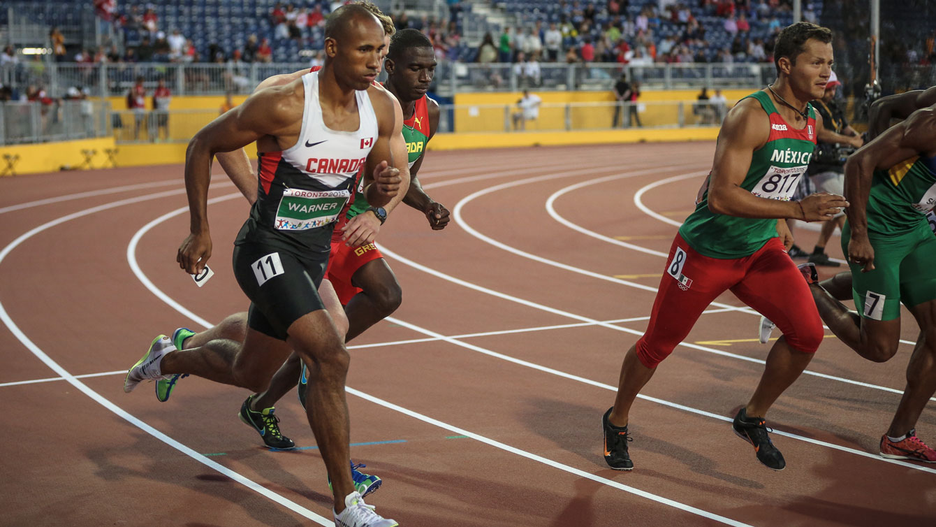 Damian Warner starts the 1500m at Pan Am Games, needing to run 4:29.5 or faster to set a new Canadian decathlon record on July 23, 2015.