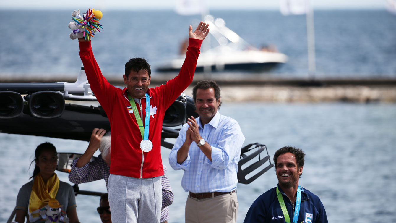 Jaret Llewellyn won silve rin the men's overall waterski competition at Toronto 2015 on July 22, 2015.