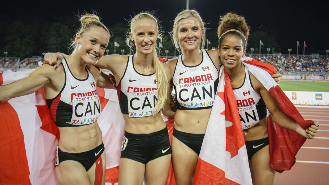 Team Canada women's 4x400m team at Toronto 2015 Pan American Games on July 25, 2015.