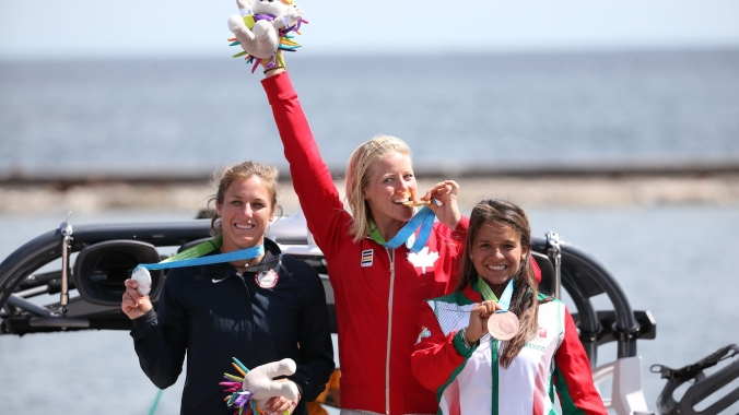 Whitney McClintock with her gold medal