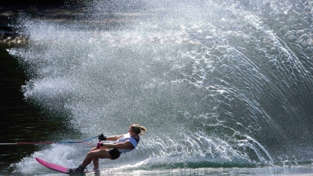 Whitney Mcclintock during preliminary slalom water skiing