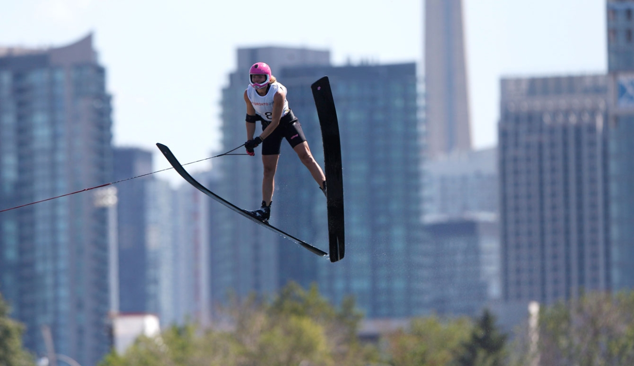 McClintock is easy to spot in the air thanks to her signature pink helmet.