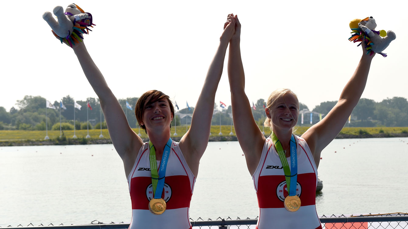 Kerry Maher-Shaffer and Antje von Seydlitz celebrate their Pan Am Games gold on July 13, 2015.
