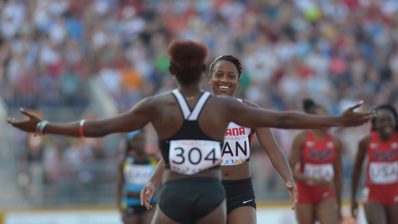 Canadian women's 4x100m team relay members celebrate after Pan Am Games bronze on July 25, 2015.