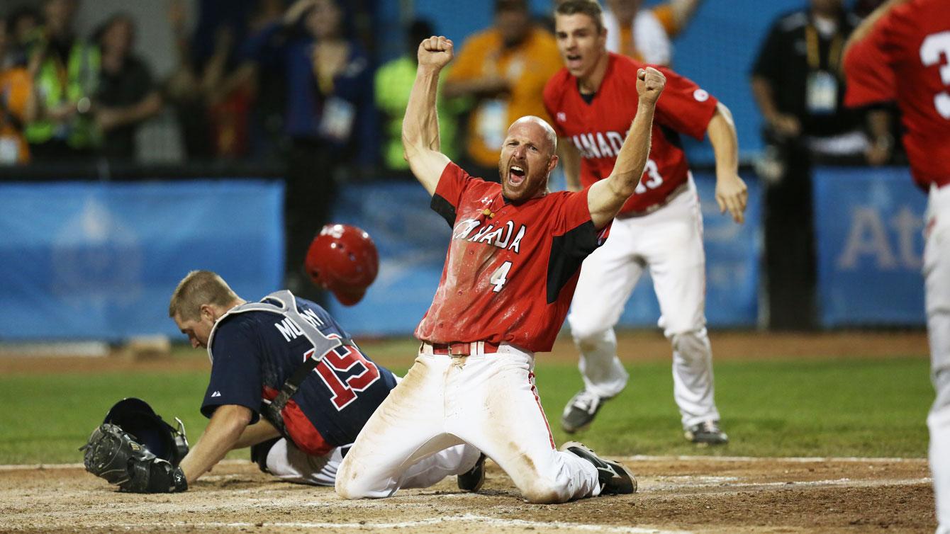 Peter Orr celebrates the gold medal-winning run in Pan Am Games men's baseball at Toronto 2015.