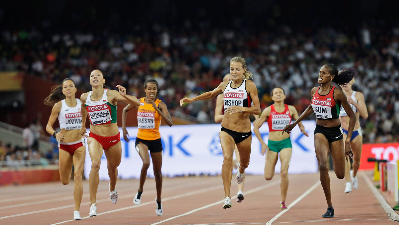 Melissa Bishop edges ahead of her competitors at the IAAF World Championships in Athletics 800m semifinals on August 27, 2015 in Beijing, China.