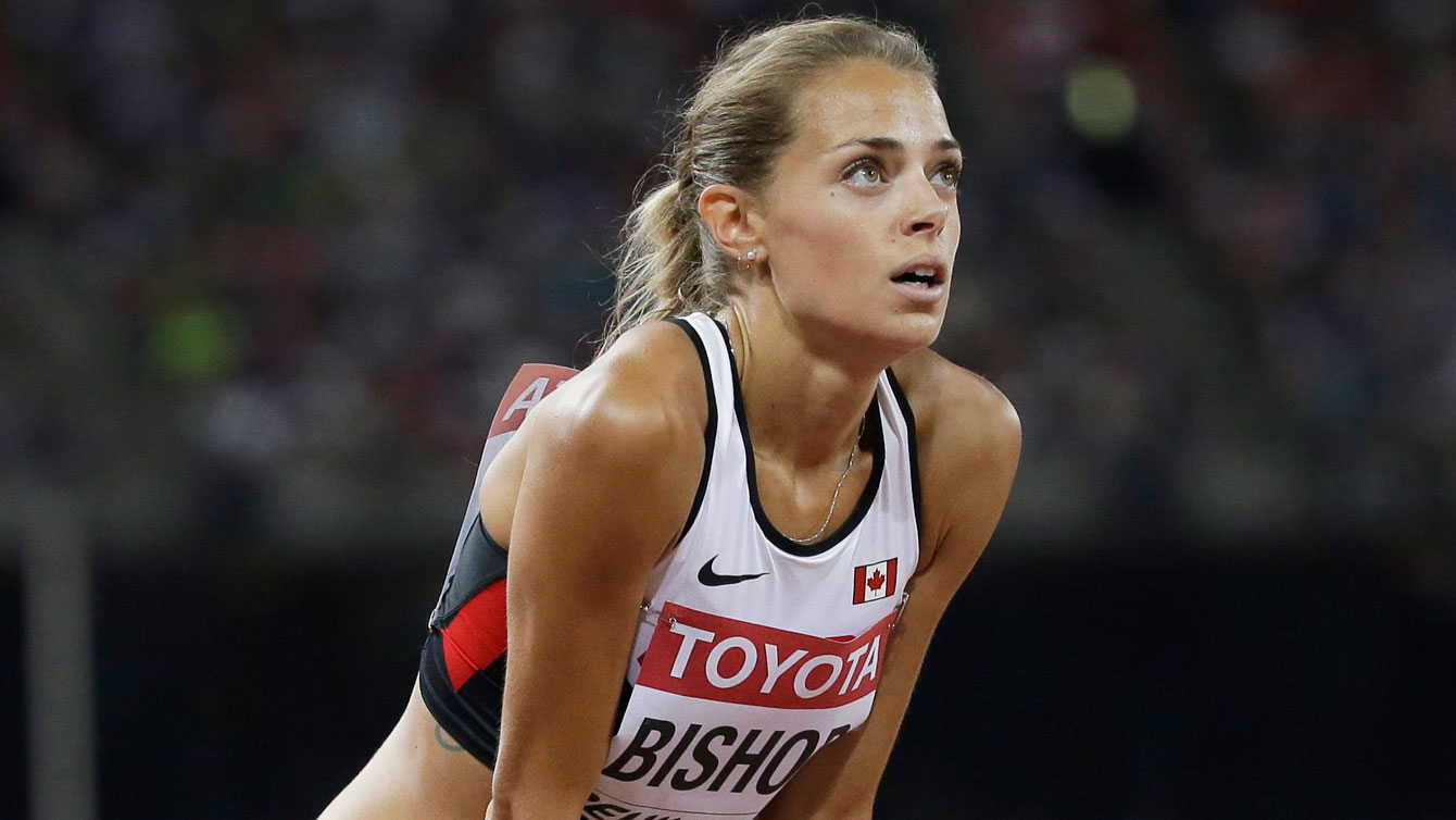 Melissa Bishop waits for her official time and placing following the IAAF World Championships in Athletics 800m semifinals on August 27, 2015 in Beijing, China.