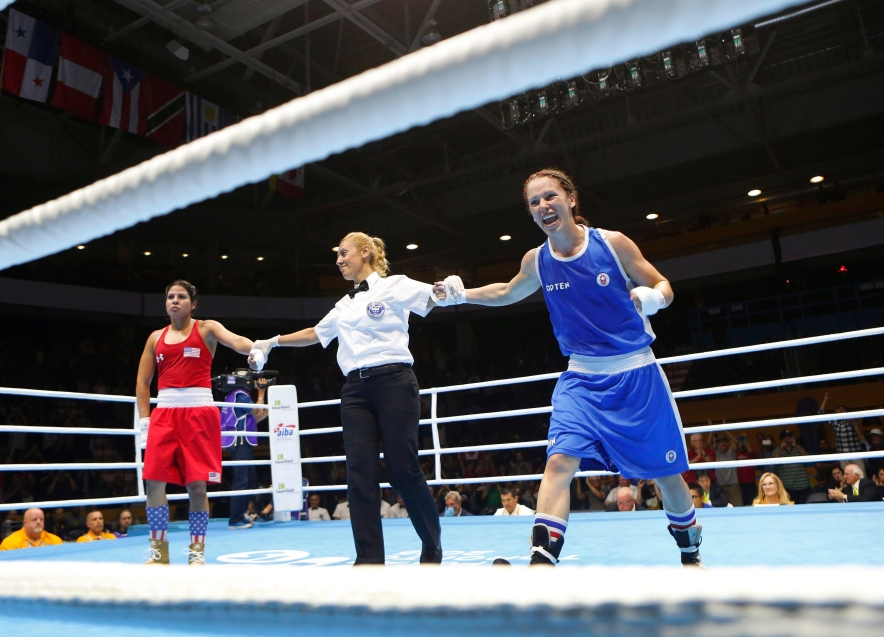 Canada's Mandy Bujold, right, celebrates