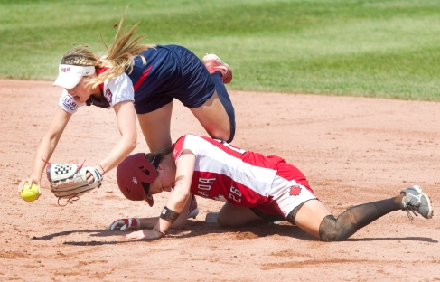 United States shortstop Kellie Fox gets the force out at second base on Canadian Larissa Franklin