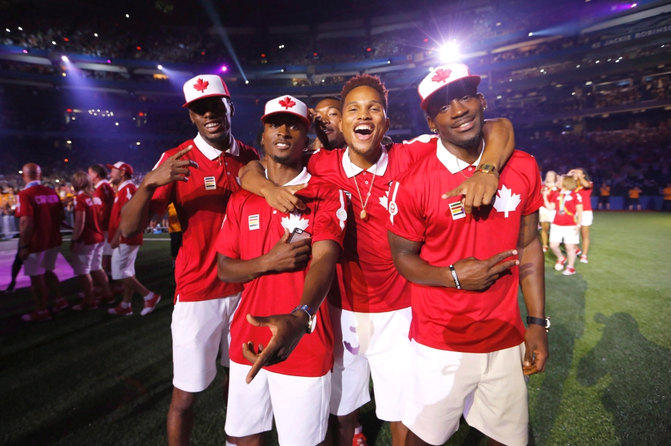 Canadian athletes enter the field during the closing ceremony at the Toronto 2015 Pan Am Games