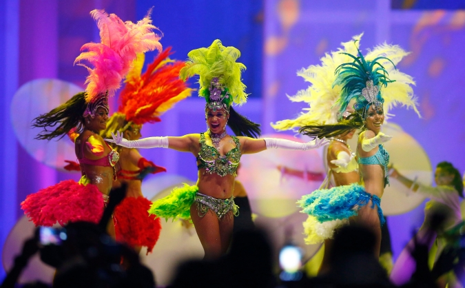Dancers perform during the closing ceremony of the 2015 Pan Am Games