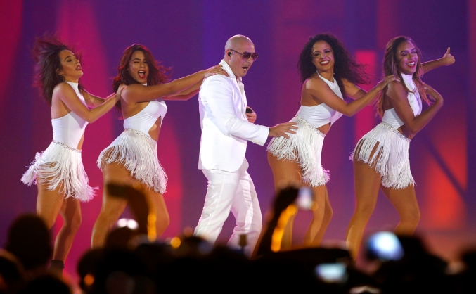 Pitbull performs during the closing ceremony of the 2015 Pan Am Games