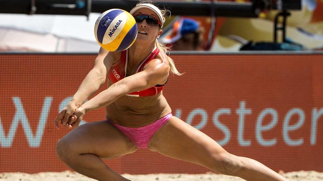 Heather Bansley preparing to volley