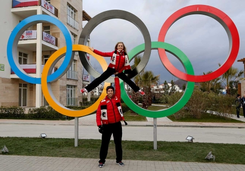 Paige Lawrence and Rudi Swiegers in the Athletes' Village at Sochi 2014.