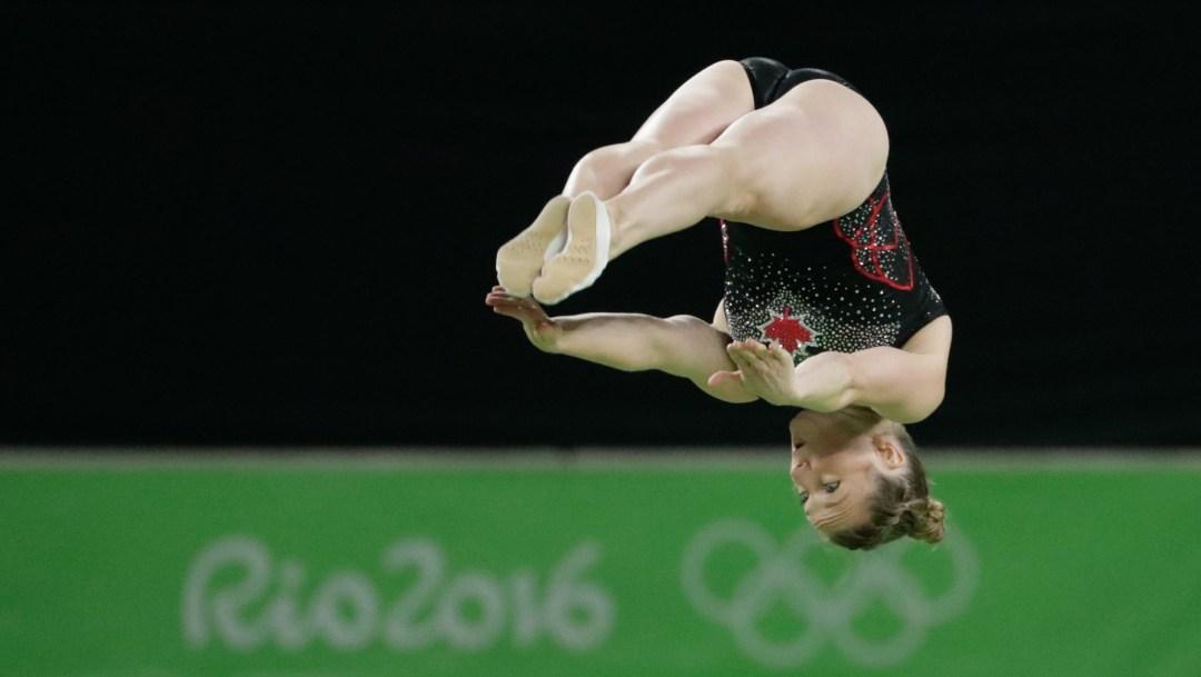 Rosie MacLennan flipping on trampoline