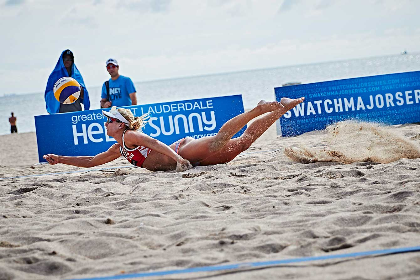 Heather Bansley absolutely laying out for a dig at 2015 World Tour Finals in Ft. Lauderdale, Florida.